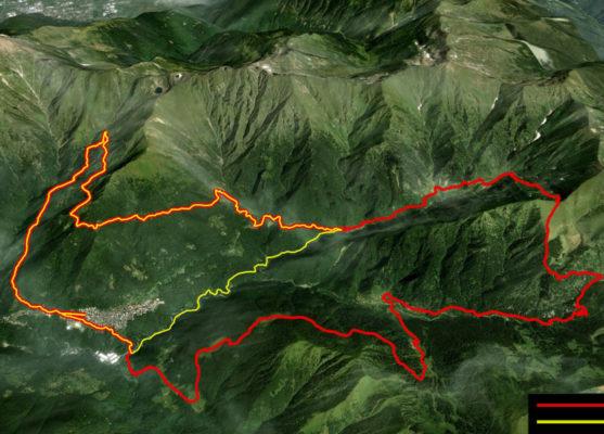 mappa 3D con percorsi giir di mont